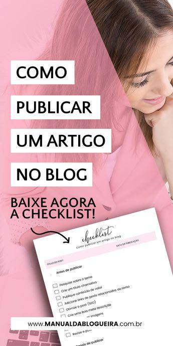 Como publicar um artigo no blog - Checklist