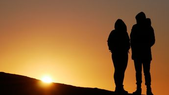 #human  #people  #silhouette #silhouette #of #people  silhouette of people on top of hill during sunset