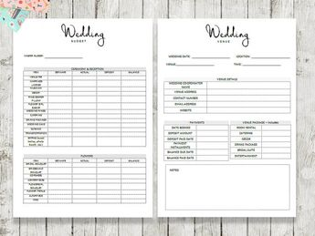 printable wedding planner 95 pages instant download kit