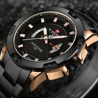 """THE FROZEN MIST"" - Water Resistant Stainless Steel Calendar Watch"