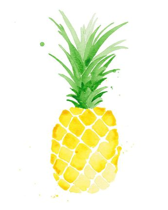 Pineapple Watercolor Print Tropical Bontanical Watercolor Art