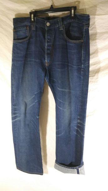 95407583 Levi 501XX Size 34x32 Made for J Crew Redline Selvedge Button Fly Denim  Jeans #Levis