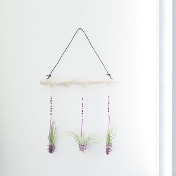 Purple Boho Bead Display, Air Plant Holder, Boho Wall Hanger, Hanging Bead Art, Driftwood Display, H