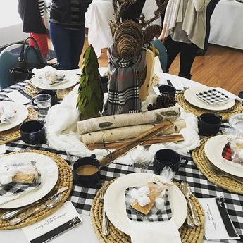 Had fun decorating my lodge inspired table at our women's Christmas Brunch. #lodge #rustic #Christmas #christmasdecor #tablescape #tablesetting