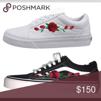 7dc9447cd6a63c Customized Rose Embroidered Vans - Ironed on and Hand sewe