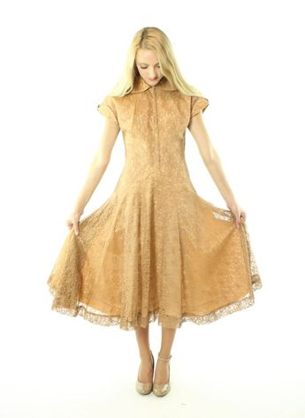 664bde089892 Vintage 50s Lace Party Dress Short Sleeve Terracota Blush Full Skirt 1950s  Small S Pinup Rockabilly