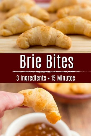 Brie Bites are an easy 3 ingredient appetizer that is perfect Thanksgiving dinner or holiday dinner! All you need is some refrigerated crescent dough, brie, egg and 15 minutes! Serve them hot with some cranberry sauce or apricot preserves – the perfect holiday appetizer! #thanksgiving #christmas #easyappetizer #brie #cranberry #cranberrysauce #crescentroll #crescentrollrecipe