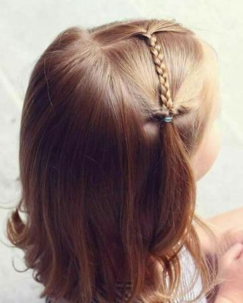 A simple braid on top, pull over to the side, add a flipped pony, and you have a simple and cute little girl hair style! Perfect for a school morning :)