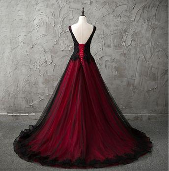 Red and Black Gothic Wedding Dress A Line Pageant Dresses Prom Evening Ball Gown