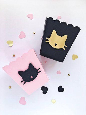 Cat Popcorn Boxes Party Birthday Decorations Bachelorette Kitten Black