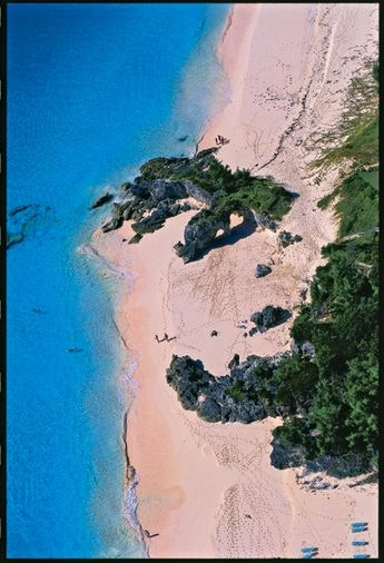 "The famous ""Natural Arches' beach, on South Shore, Tuckers Town, Bermuda, adjacent The Mid Ocean Club and golf course."