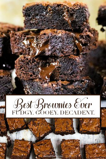 The best brownies EVER! Fudgy, chewy, decadent, rich, addicting, and super gooey. | #carnaldish #brownies #bestbrowniesever #bestbrownies #brownierecipes