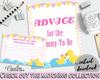 Rubber Ducky Advice For Mommy To Be Cards & Sign, Printable Baby Shower Yellow Pink Advice For New Parents, Instant Download, rd001