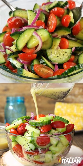 Cucumber Tomato Salad is the best of summers harvest. Crisp cucumbers and luscious tomatoes tossed in a bright and creamy lemon poppy seed dressing. This is my newest obsession. #CucumberTomatoSalad #PotluckRecipe