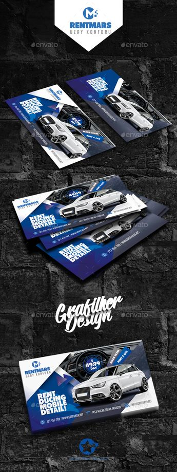 Rent A Car Business Card Templates Fully layeredINDDFully layeredPSD300 Dpi, CMYKIDML format openIndesign CS4 or laterCompletely e