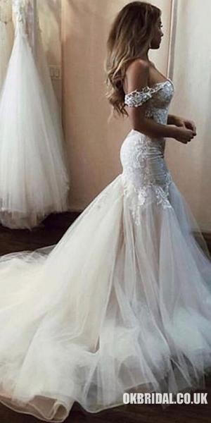 Vintage Lace Off Shoulder Mermaid Tulle Backless Wedding Dresses, FC1909