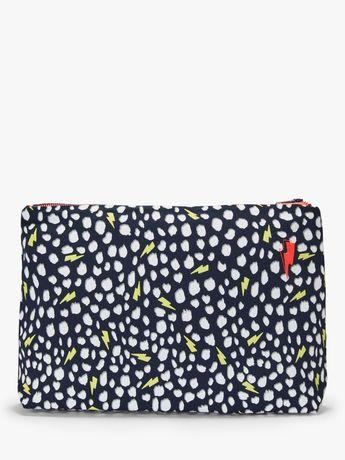 Scamp & Dude Large Cheetah Print Swag Bag, Navy/Yellow