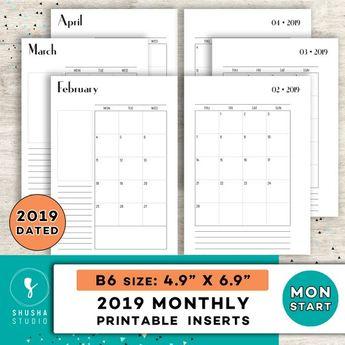 Printable 2019 Monthly B6 Planner Inserts, 2019 Agenda Printable Planner Inserts, Instant Download