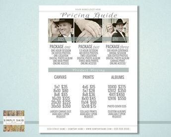 Photography Pricing Guide- Editable PSD File and Google Doc, INSTANT DOWNLOAD