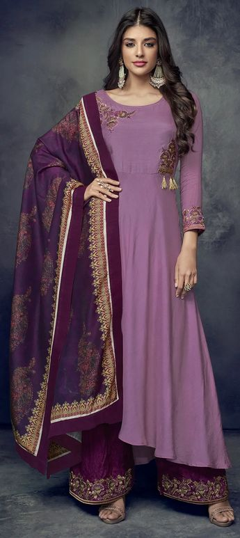 f911e9b044 Recent Pinterest palazzo pants indian suits pink Ideas. Milan Silk  Bollywood Salwar Kameez in Purple and Violet with Embroidered work