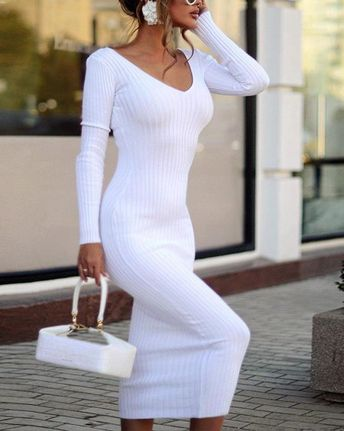boutiquefeel / White Knitted Bodycon Midi Dress