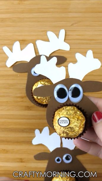 Make some adorable little ferrero rocher chocolate reindeer treats for your friends and family! They are so easy and they will LOVE them! Christmas treat gift idea. Cute reindeer craft art project for kids.
