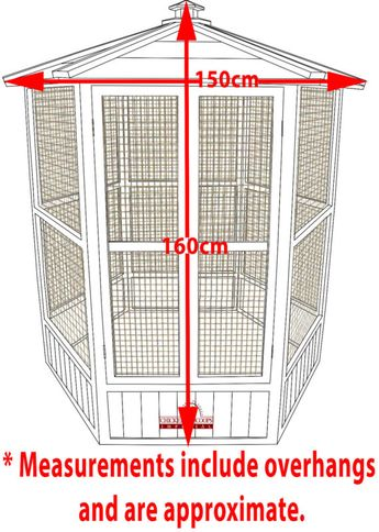 Details about Pets Imperial® Large Wooden Hexagonal Bird Aviary Cage Birds Parrot Canary