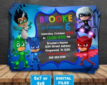 PJ Masks Invitation Birthday Party Personalized