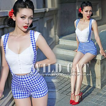 Stylish Blue Plaid High Waist Sexy Plasysuit Jumpsuit Rompers for Womens Bib Overall Suspender Shorts Pin up Girl Must-have