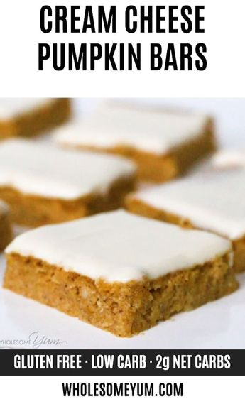 Low Carb Healthy Pumpkin Bars with Cream Cheese Frosting - This easy pumpkin bars recipe with canned pumpkin & cream cheese frosting is gluten-free & low carb, with healthy, natural ingredients. Just 10 min prep! #wholesomeyum #keto #lowcarb #dessert #ketodessert #lowcarbdessert #glutenfree #healthydessert #falldessert #thanksgiving #halloween
