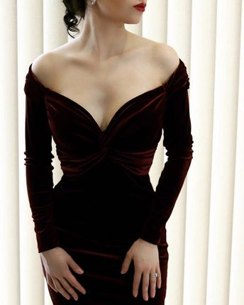 Cocktail dress, burgundy velvet dress, midi dress, evening dress, party dress, mid-length dress