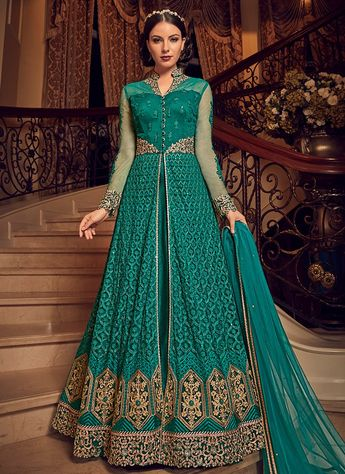 249ba2489dab8 Teal Embroidered Georgette Pant Style Anarkali
