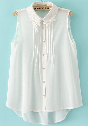 White Lace Lapel Sleeveless Chiffon Blouse 16.67