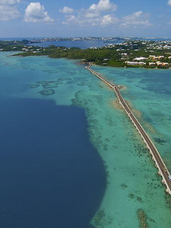 Bermuda - Gorgeous aerial view of The Causeway from grotto bay to st. george