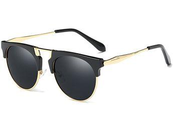 c800cbdd741 Joopin Semi Rimless Polarized Sunglasses Women Men Retro Brand Sun Glasses  (Black (No Case
