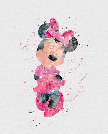 Minnie Mouse Watercolor Art