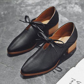 b75b133f3a5 Simple Bowknot Daily Chunky Heels