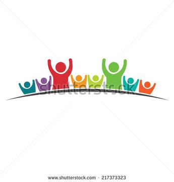 Teamwork People logo Eight Friends image. Concept of Group of People, happy team, victory.Vector icon