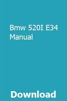 Bmw 520I E34 Manual download pdf