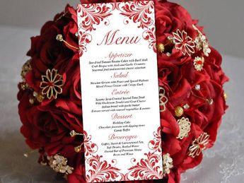 Heart Wedding Menu Template - Wedding Reception Menu - Vale
