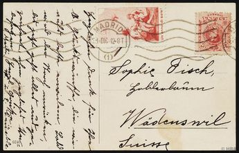 """1912, Pro Juventute forerunner, 10 Cmi., carmine red, Italian text, besides spanish postal stamp on postcard from Madrid 31. DIC. 12"""" to Wädenswil / Switzerland, on the map right above small corner crease and below small tiny spot, otherwise faultless choise copy condition. The stamp had also domestically no Frankaturkraft and is also with foreign countrystempel as genuine used to look at, an use abroad is extreme unusual, perhaps unique, expertized abbot with photo certificate, Michel 6500,--,"""