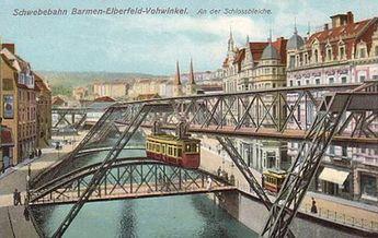 Die Schwebebahn an der Schlossbleiche um 1908