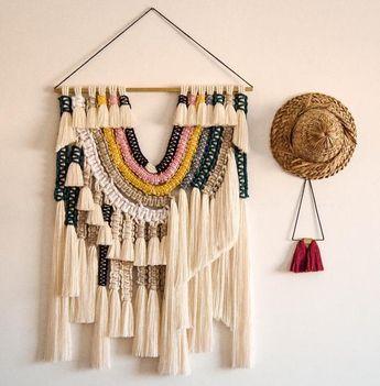 """Macrame Textile Art - Macrame Wall Art - """"rainbow"""" - Macrame Wall Hanging - Woven Wall Hanging"""