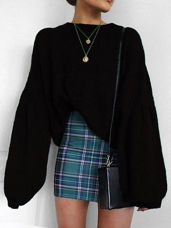 Solid Long Lantern Sleeve Casual Sweater- Lovelyh