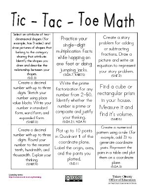 Tic Tac Toe Math may be used for math centers, homework, or as an opportunity for interactive math practice. Students will engage in math activities to support a variety of concepts to develop their understanding of the standards.