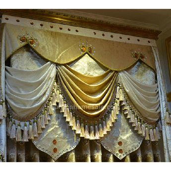 Romantic Victorian Curtain in Light Gold Velvet and Sheer Stitching Living Room Curtain Not Included Valance