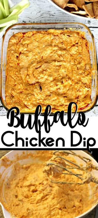Easy Buffalo Chicken Dip Recipe - Buffalo Chicken Dip takes the delicious taste of buffalo chicken wings but puts them in an easy to make dip. With just 5 ingredients, you are sure to fall in love with this easy appetizer! #buffalo #buffalochicken #dip #appetizer #gamedayfood #gamedayrecipes  #gamedaysnacks #superbowl #superbowlparty #superbowlfood #celery #carrots #dips #diprecipeseasy #easy #recipe #spicyfoodrecipes #spicy #spicyrecipes #frankswings