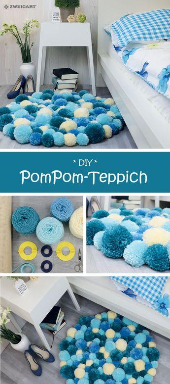 PomPom-Teppich in verschiedenen Blautönen selber machen - Detallierte Step-by-Step Anleitung!
