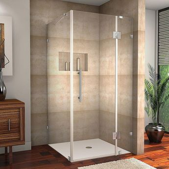 Aston Avalux 36 in. x 72 in. Frameless Shower Enclosure in Stainless Steel with Self Closing Hinges-SEN987-SS-36-10