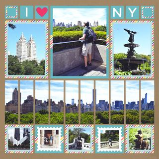 A travel scrapbook layout we just adore! There is so much fun stuff going on. First we have a beautiful panorama of New York City (cut into strips). AND we have the fun stamp die set. You can create a scrapbook layout like this too! Click to view the scrapbook template & don't forget to follow Mosaic Moments for more amazing ideas.